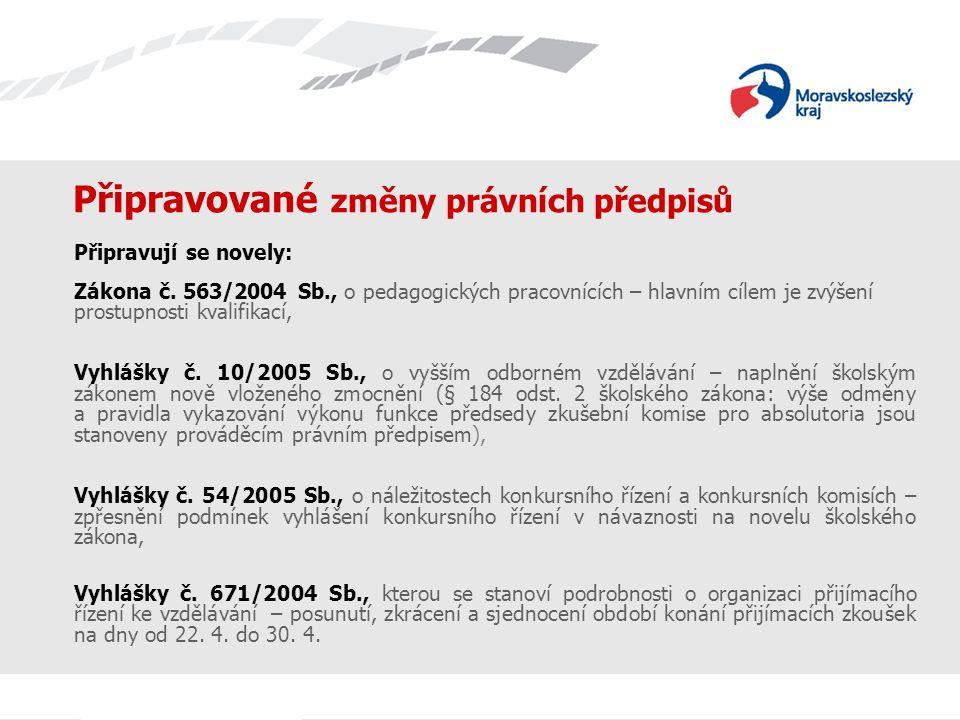 Připravované změny právních předpisů Připravují se novely: Zákona č.