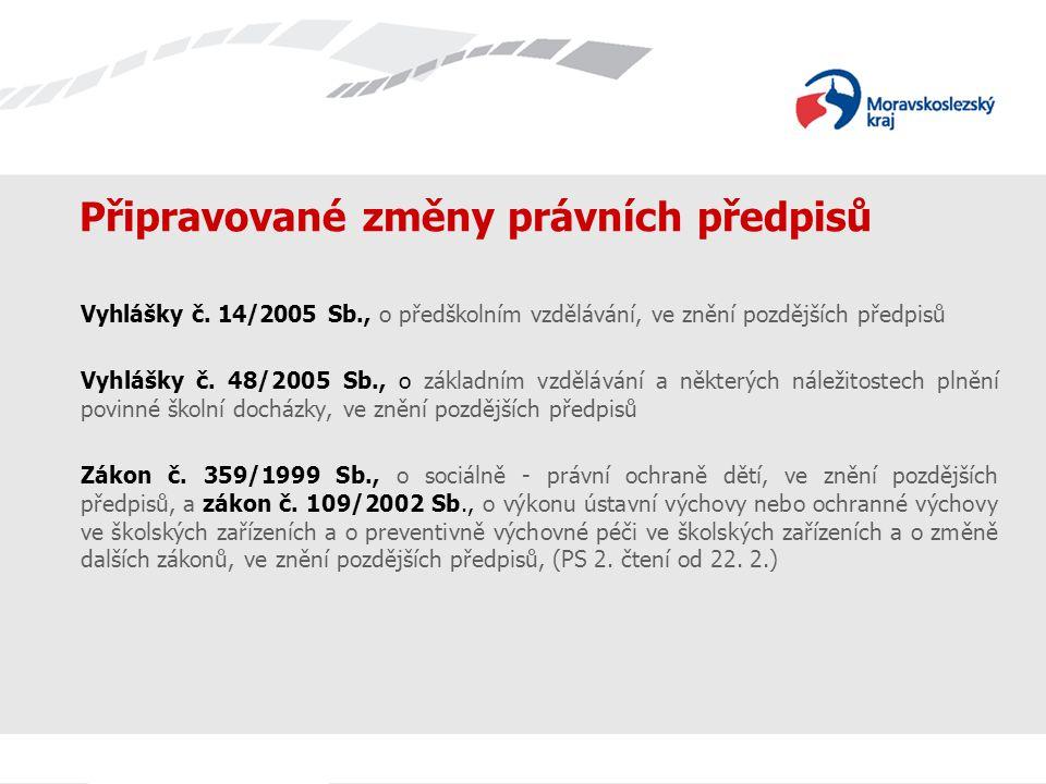 Připravované změny právních předpisů Vyhlášky č. 14/2005 Sb., o předškolním vzdělávání, ve znění pozdějších předpisů Vyhlášky č. 48/2005 Sb., o základ