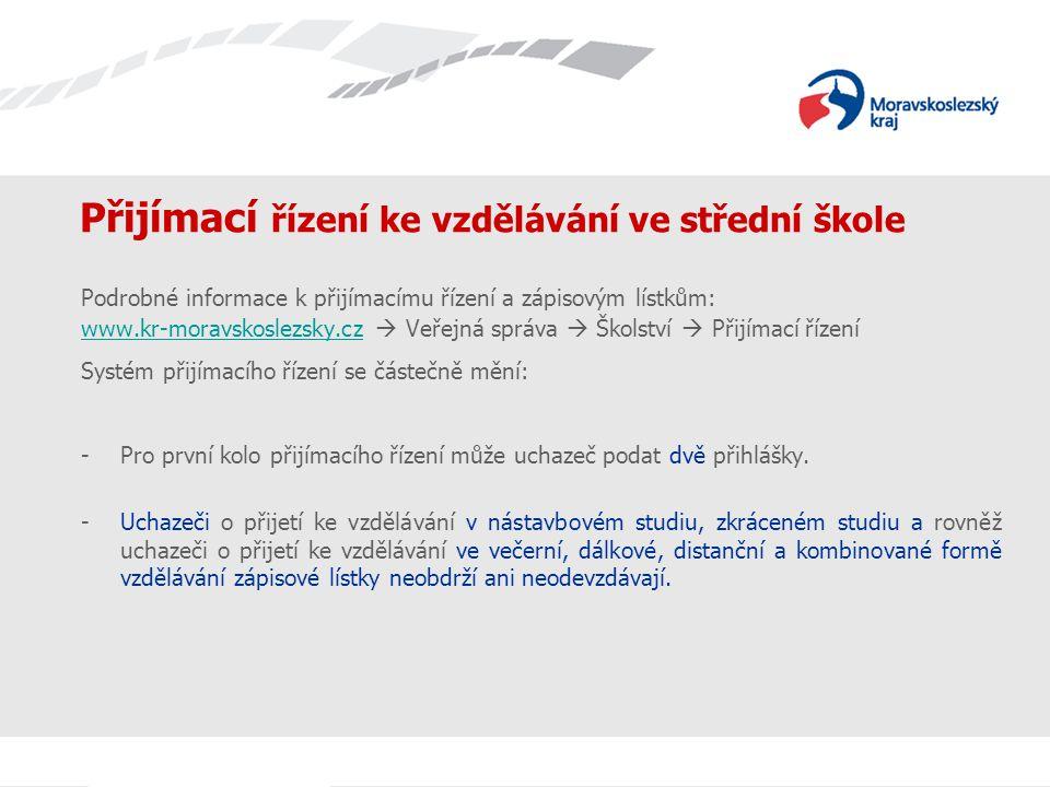Přijímací řízení ke vzdělávání ve střední škole Podrobné informace k přijímacímu řízení a zápisovým lístkům: www.kr-moravskoslezsky.czwww.kr-moravskos
