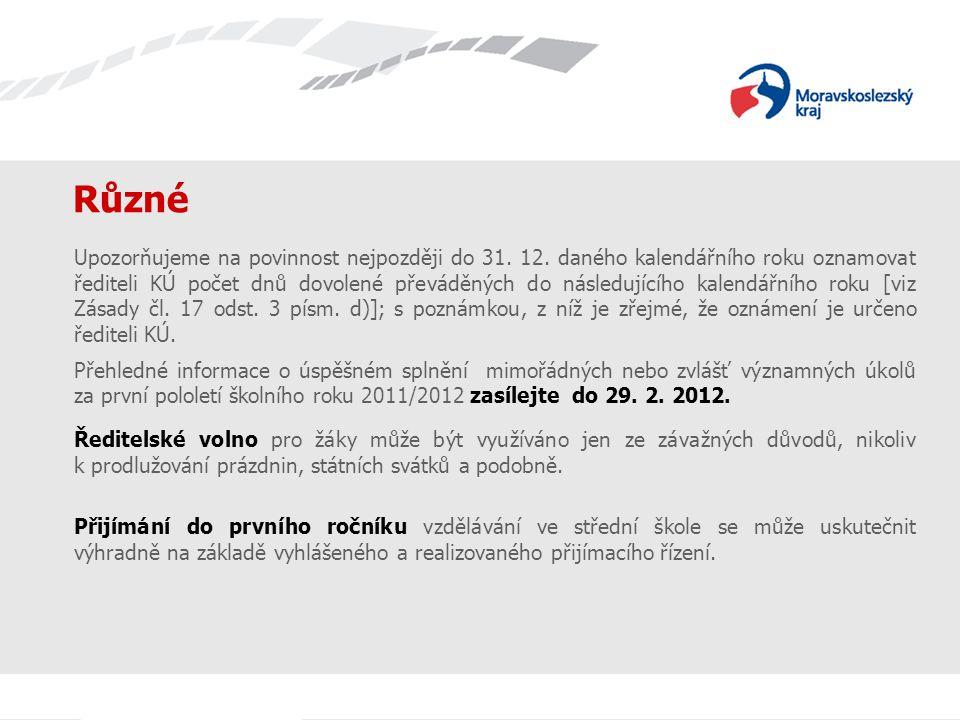 Různé Upozorňujeme na povinnost nejpozději do 31.12.