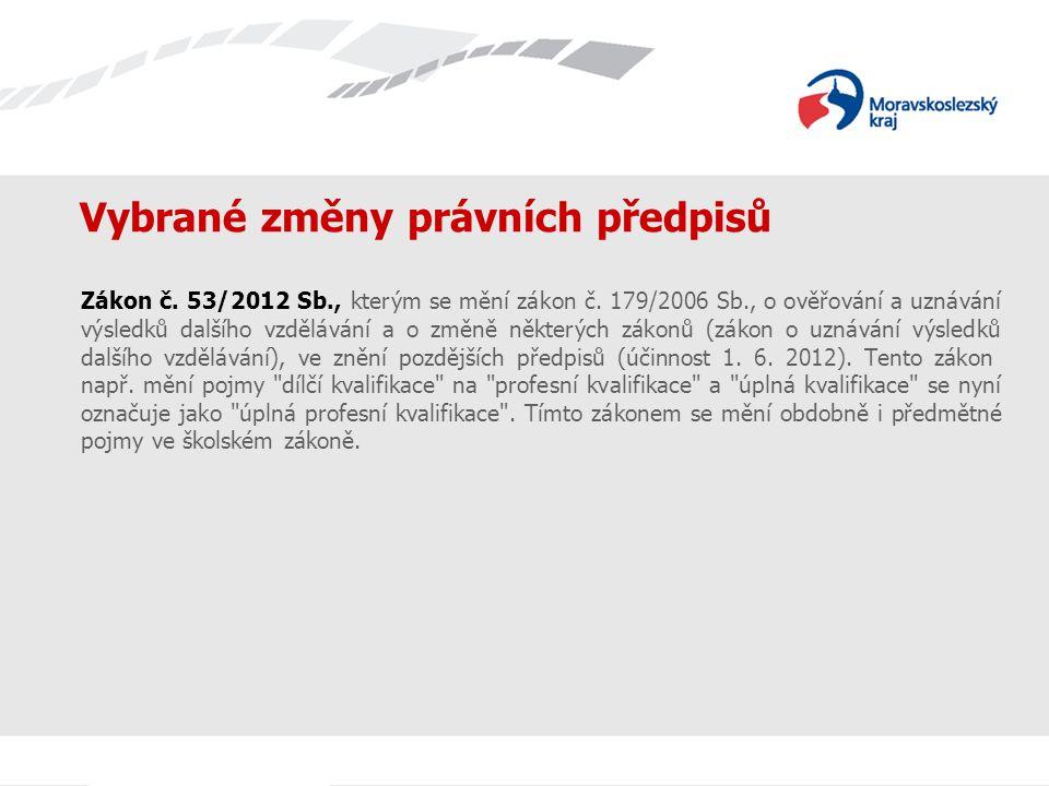 Vybrané změny právních předpisů Zákon č.53/2012 Sb., kterým se mění zákon č.