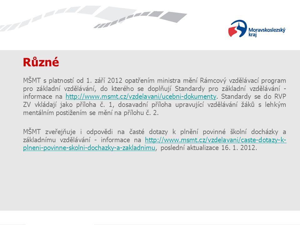 Různé MŠMT s platností od 1. září 2012 opatřením ministra mění Rámcový vzdělávací program pro základní vzdělávání, do kterého se doplňují Standardy pr