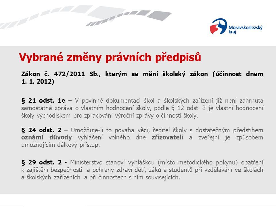 Vybrané změny právních předpisů Zákon č. 472/2011 Sb., kterým se mění školský zákon (účinnost dnem 1. 1. 2012) § 21 odst. 1e – V povinné dokumentaci š