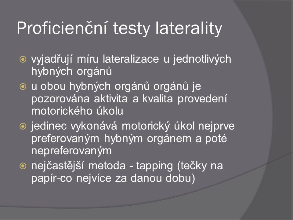 Proficienční testy laterality  vyjadřují míru lateralizace u jednotlivých hybných orgánů  u obou hybných orgánů orgánů je pozorována aktivita a kval