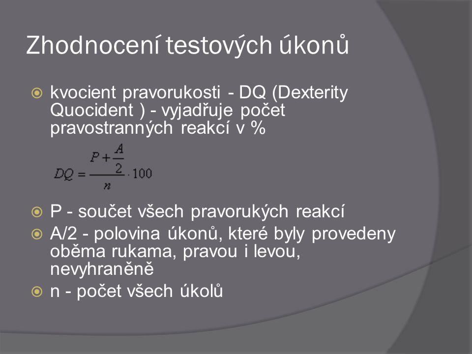 Zhodnocení testových úkonů  kvocient pravorukosti - DQ (Dexterity Quocident ) - vyjadřuje počet pravostranných reakcí v %  P - součet všech pravoruk