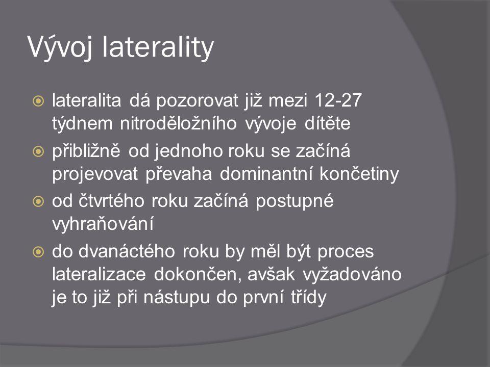 Vývoj laterality  lateralita dá pozorovat již mezi 12-27 týdnem nitroděložního vývoje dítěte  přibližně od jednoho roku se začíná projevovat převaha