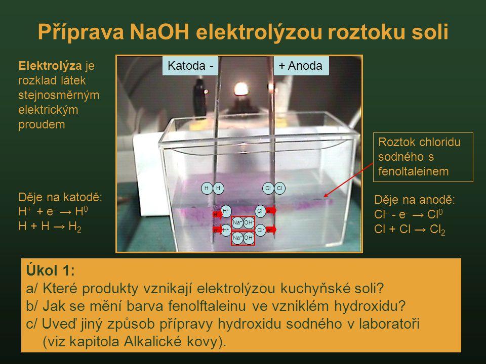 Příprava NaOH elektrolýzou roztoku soli Úkol 1: a/ Které produkty vznikají elektrolýzou kuchyňské soli? b/ Jak se mění barva fenolftaleinu ve vzniklém