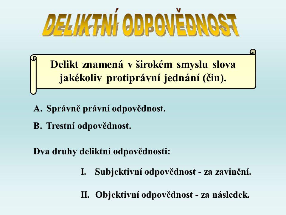 Delikt znamená v širokém smyslu slova jakékoliv protiprávní jednání (čin). Dva druhy deliktní odpovědnosti: I.Subjektivní odpovědnost - za zavinění. I