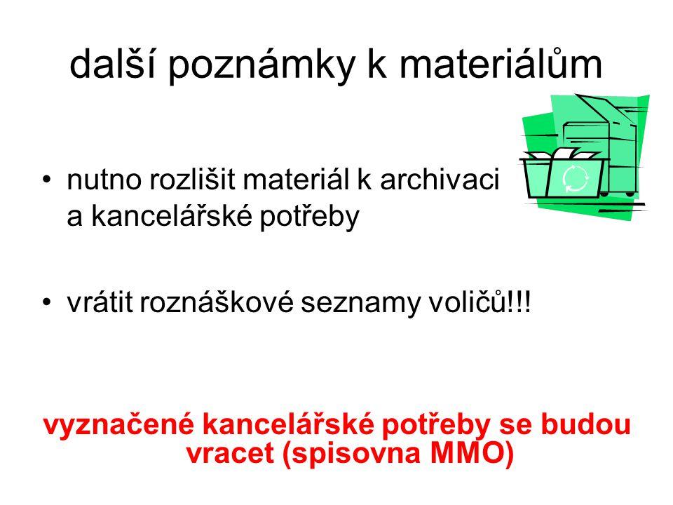 další poznámky k materiálům nutno rozlišit materiál k archivaci a kancelářské potřeby vrátit roznáškové seznamy voličů!!! vyznačené kancelářské potřeb