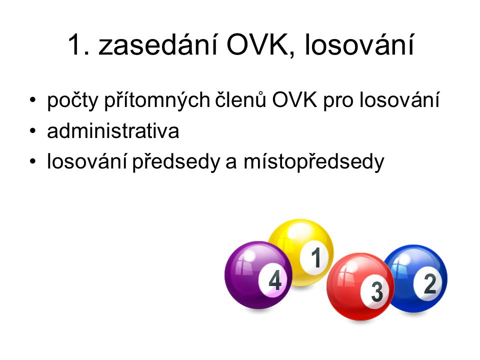 1. zasedání OVK, losování počty přítomných členů OVK pro losování administrativa losování předsedy a místopředsedy