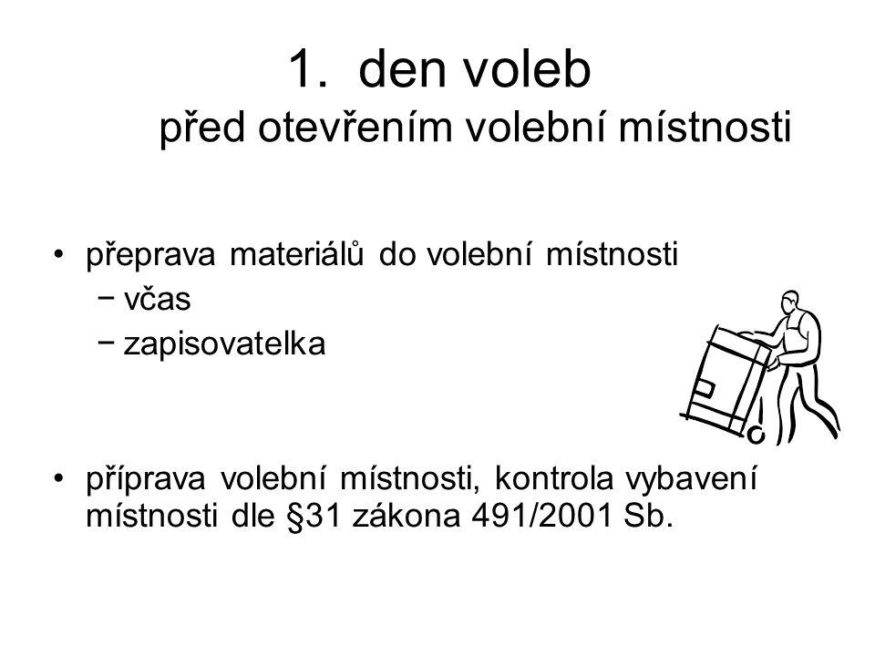 1.den voleb před otevřením volební místnosti přeprava materiálů do volební místnosti −včas −zapisovatelka příprava volební místnosti, kontrola vybaven