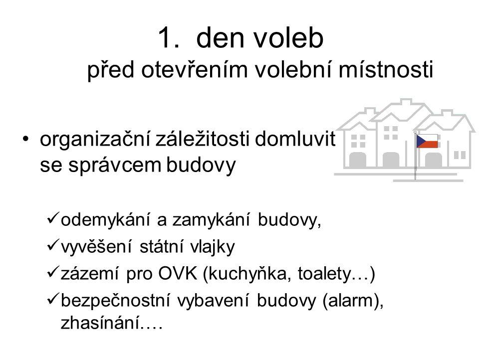 volební schránka před otevřením volební místnosti všechny volební schránky (i přenosné): –otevřít a ukázat všem členům OVK, že jsou prázdné, –uzavřít, –zapečetit přes zámek (přes dvě protilehlé strany), –podepsat.