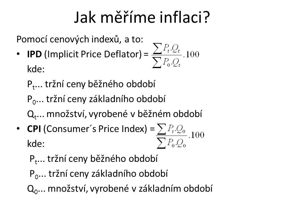 Jak měříme inflaci? Pomocí cenových indexů, a to: IPD (Implicit Price Deflator) = kde: P t... tržní ceny běžného období P 0... tržní ceny základního o