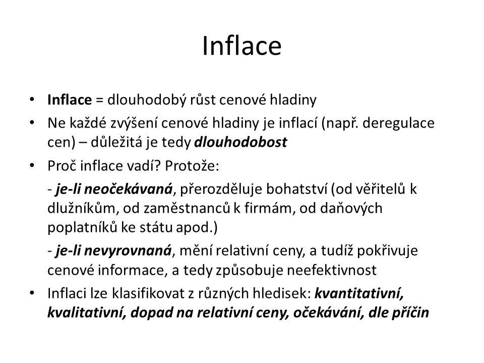 Inflace Inflace = dlouhodobý růst cenové hladiny Ne každé zvýšení cenové hladiny je inflací (např. deregulace cen) – důležitá je tedy dlouhodobost Pro