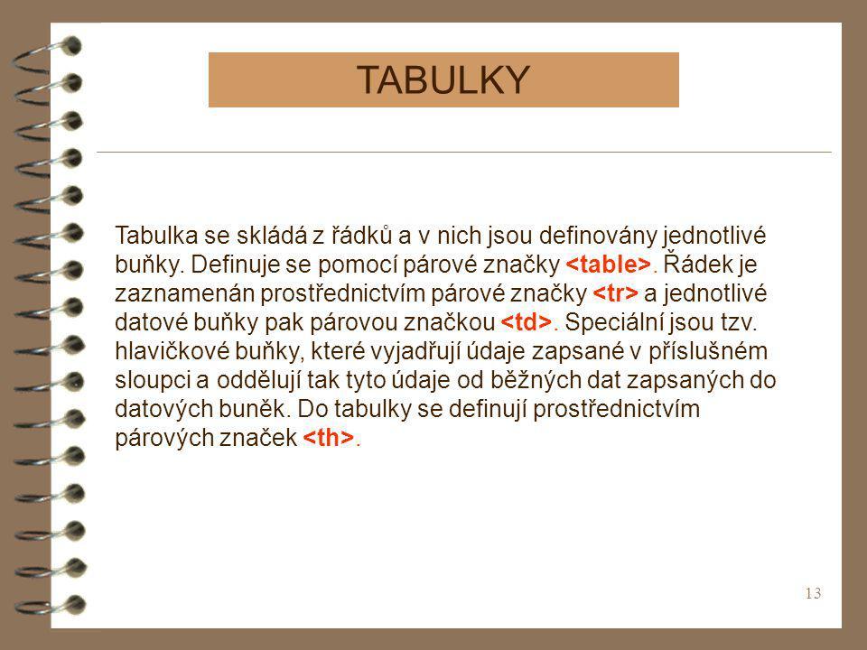 13 TABULKY Tabulka se skládá z řádků a v nich jsou definovány jednotlivé buňky. Definuje se pomocí párové značky. Řádek je zaznamenán prostřednictvím