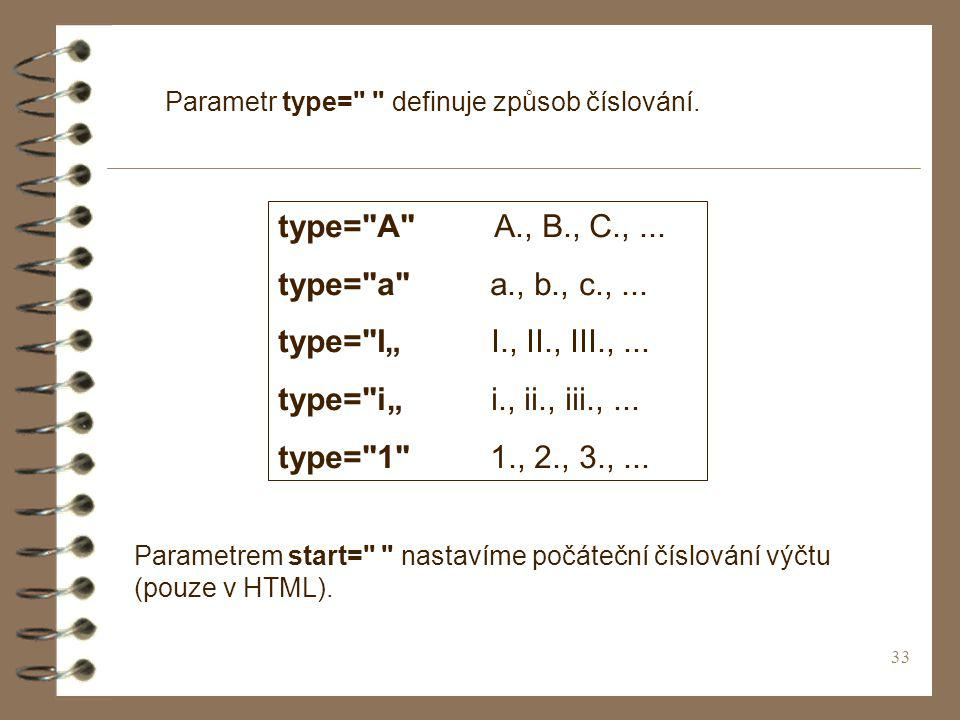 33 Parametr type= definuje způsob číslování. type= A A., B., C.,...