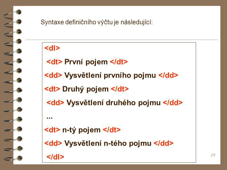35 Syntaxe definičního výčtu je následující: První pojem Vysvětlení prvního pojmu Druhý pojem Vysvětlení druhého pojmu... n-tý pojem Vysvětlení n-tého