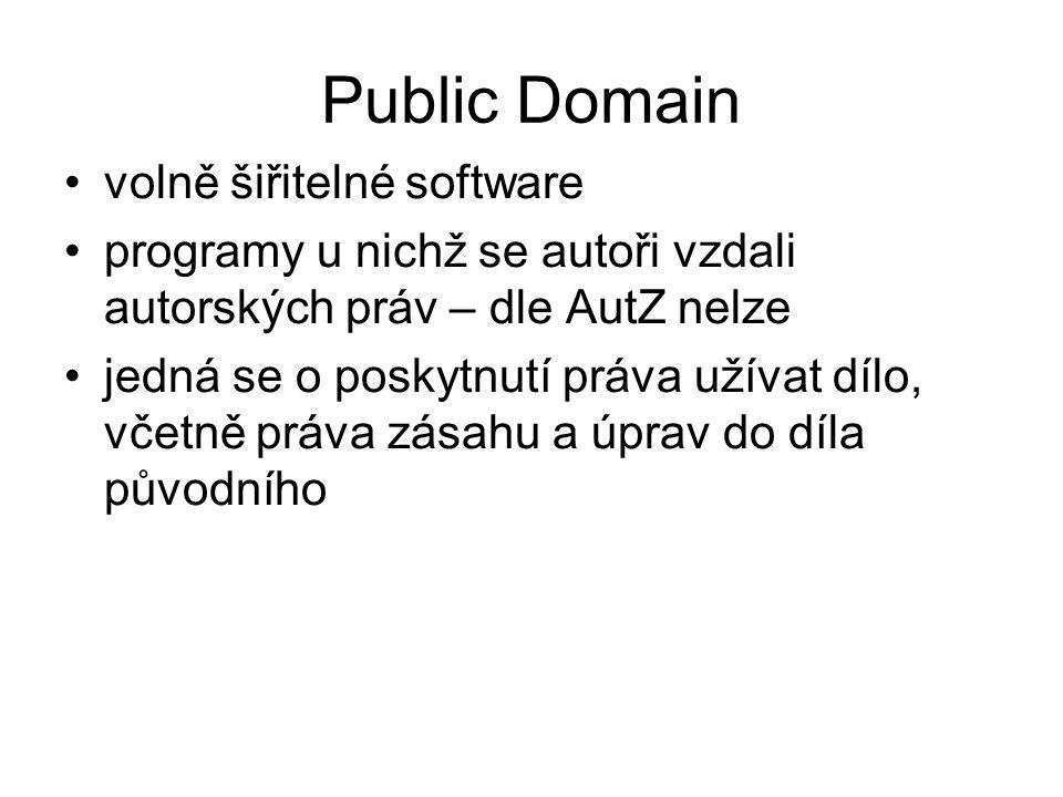 volně šiřitelné software programy u nichž se autoři vzdali autorských práv – dle AutZ nelze jedná se o poskytnutí práva užívat dílo, včetně práva zásahu a úprav do díla původního Public Domain