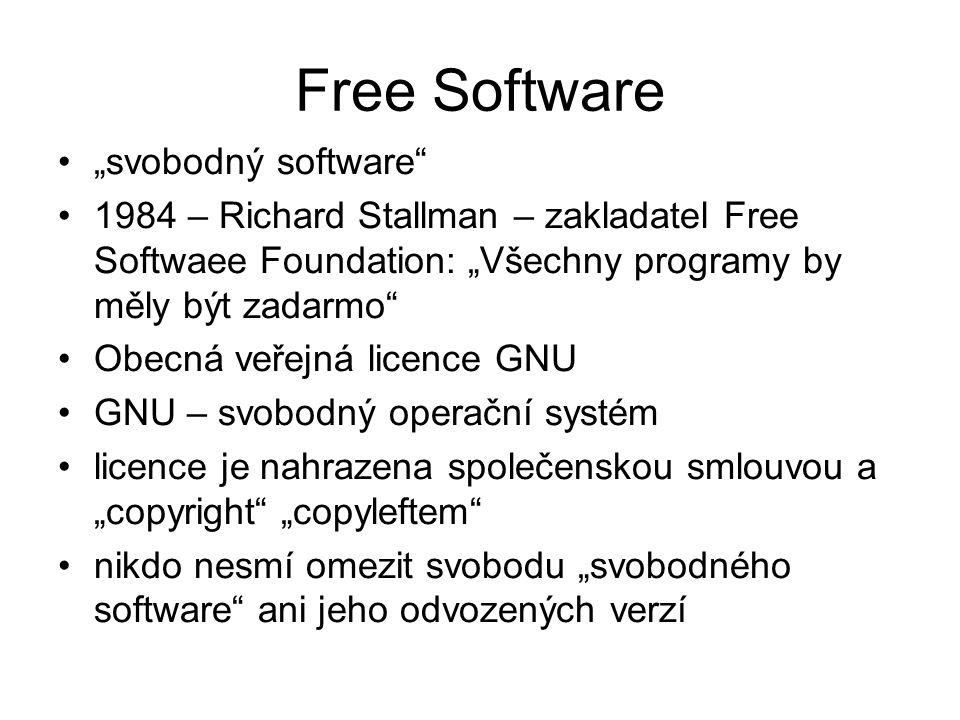 """""""svobodný software 1984 – Richard Stallman – zakladatel Free Softwaee Foundation: """"Všechny programy by měly být zadarmo Obecná veřejná licence GNU GNU – svobodný operační systém licence je nahrazena společenskou smlouvou a """"copyright """"copyleftem nikdo nesmí omezit svobodu """"svobodného software ani jeho odvozených verzí Free Software"""