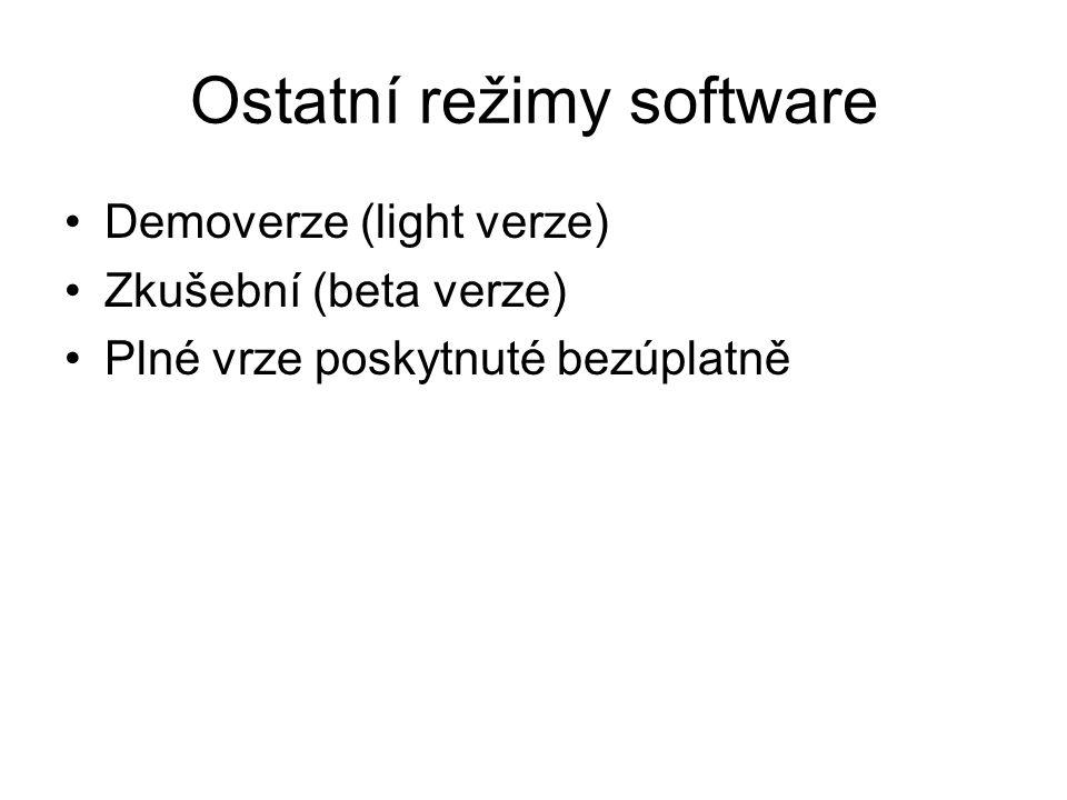 Ostatní režimy software Demoverze (light verze) Zkušební (beta verze) Plné vrze poskytnuté bezúplatně