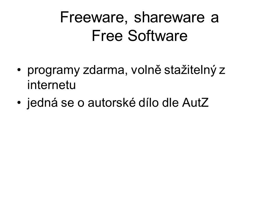 Freeware, shareware a Free Software programy zdarma, volně stažitelný z internetu jedná se o autorské dílo dle AutZ