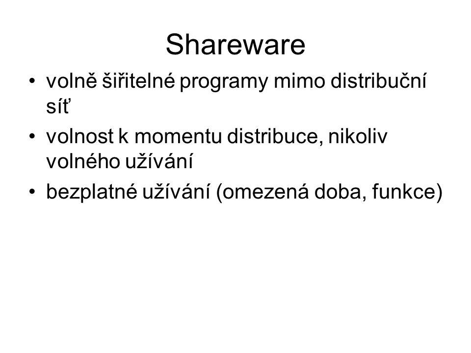 volně šiřitelné programy mimo distribuční síť volnost k momentu distribuce, nikoliv volného užívání bezplatné užívání (omezená doba, funkce) Shareware