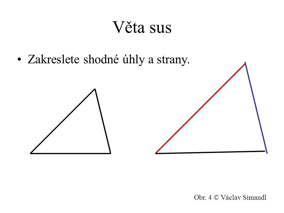 Věta sus Zakreslete shodné úhly a strany. Obr. 4 © Václav Simandl