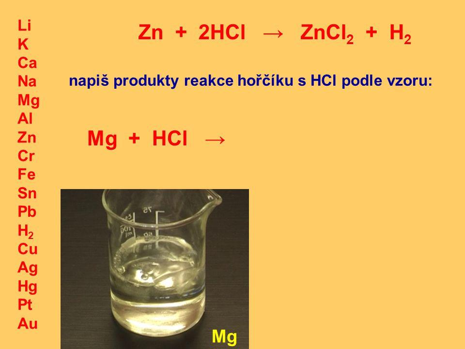 Li K Ca Na Mg Al Zn Cr Fe Sn Pb H 2 Cu Ag Hg Pt Au Zn + 2HCl → ZnCl 2 + H 2 Mg napiš produkty reakce hořčíku s HCl podle vzoru: Mg + HCl →