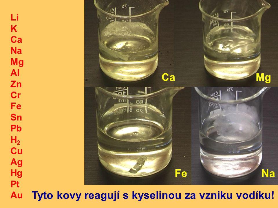 H 2 Cu Ag Hg Pt Au Li K Ca Na Mg Al Zn Cr Fe Sn Pb CaMg FeNa Tyto kovy reagují s kyselinou za vzniku vodíku!