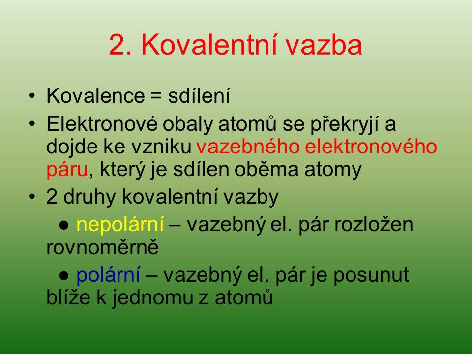 2. Kovalentní vazba Kovalence = sdílení Elektronové obaly atomů se překryjí a dojde ke vzniku vazebného elektronového páru, který je sdílen oběma atom