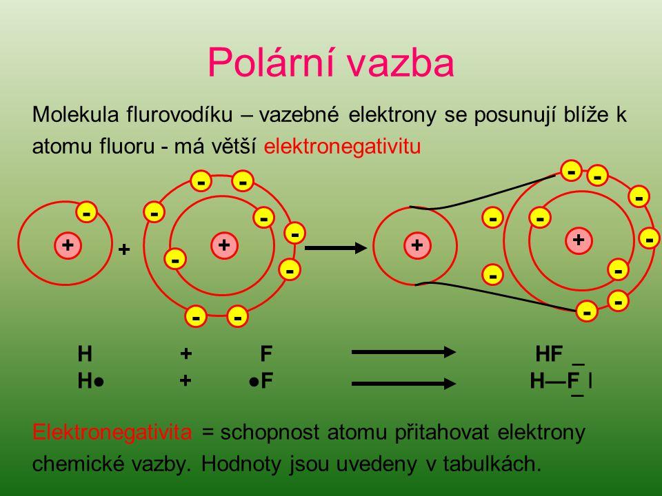Polární vazba Molekula flurovodíku – vazebné elektrony se posunují blíže k atomu fluoru - má větší elektronegativitu Elektronegativita = schopnost atomu přitahovat elektrony chemické vazby.