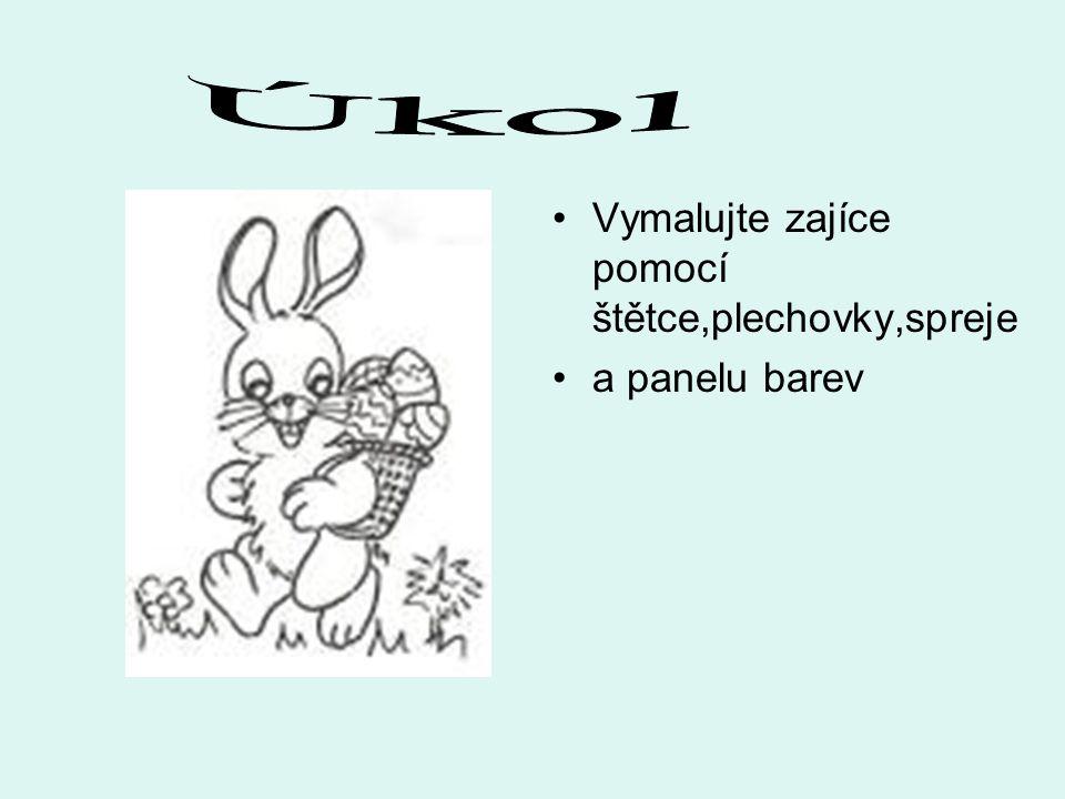Vymalujte zajíce pomocí štětce,plechovky,spreje a panelu barev