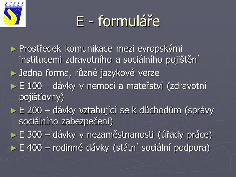 E - formuláře ► Prostředek komunikace mezi evropskými institucemi zdravotního a sociálního pojištění ► Jedna forma, různé jazykové verze ► E 100 – dáv