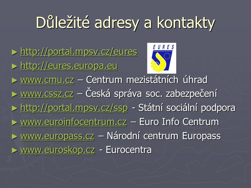 Důležité adresy a kontakty ► http://portal.mpsv.cz/eures http://portal.mpsv.cz/eures ► http://eures.europa.eu http://eures.europa.eu ► www.cmu.cz – Ce
