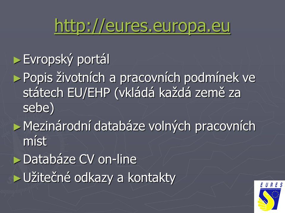 http://eures.europa.eu ► Evropský portál ► Popis životních a pracovních podmínek ve státech EU/EHP (vkládá každá země za sebe) ► Mezinárodní databáze