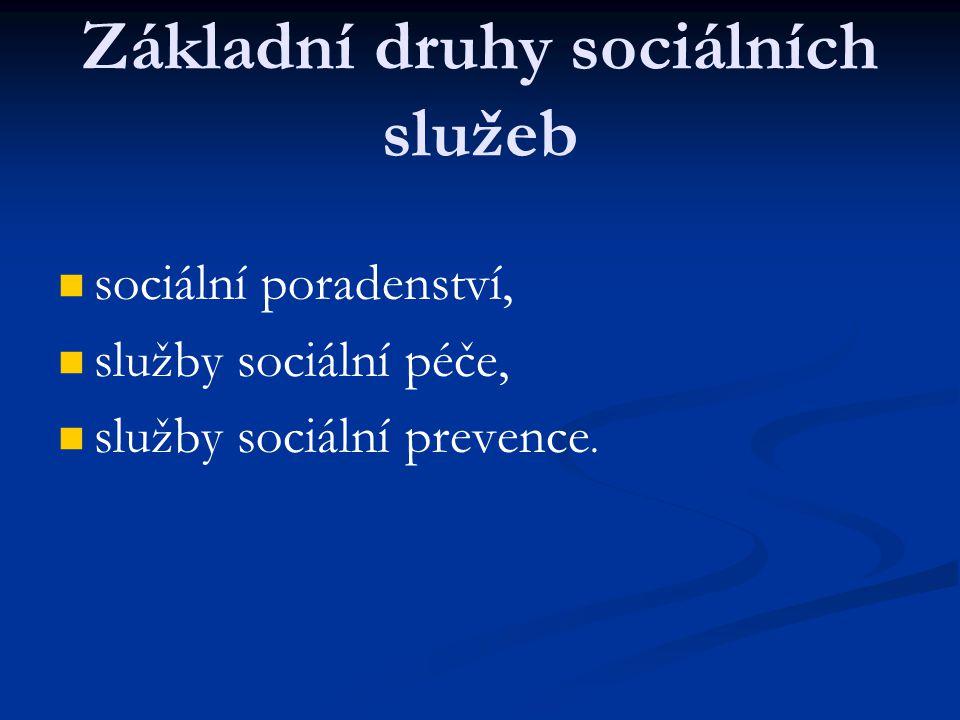 Základní druhy sociálních služeb sociální poradenství, služby sociální péče, služby sociální prevence.