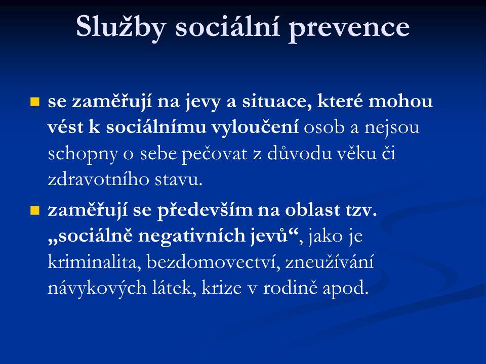 Služby sociální prevence se zaměřují na jevy a situace, které mohou vést k sociálnímu vyloučení osob a nejsou schopny o sebe pečovat z důvodu věku či