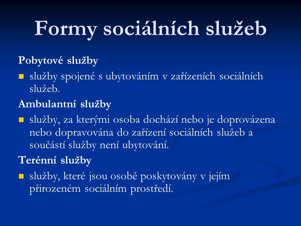 Formy sociálních služeb Pobytové služby služby spojené s ubytováním v zařízeních sociálních služeb. Ambulantní služby služby, za kterými osoba dochází