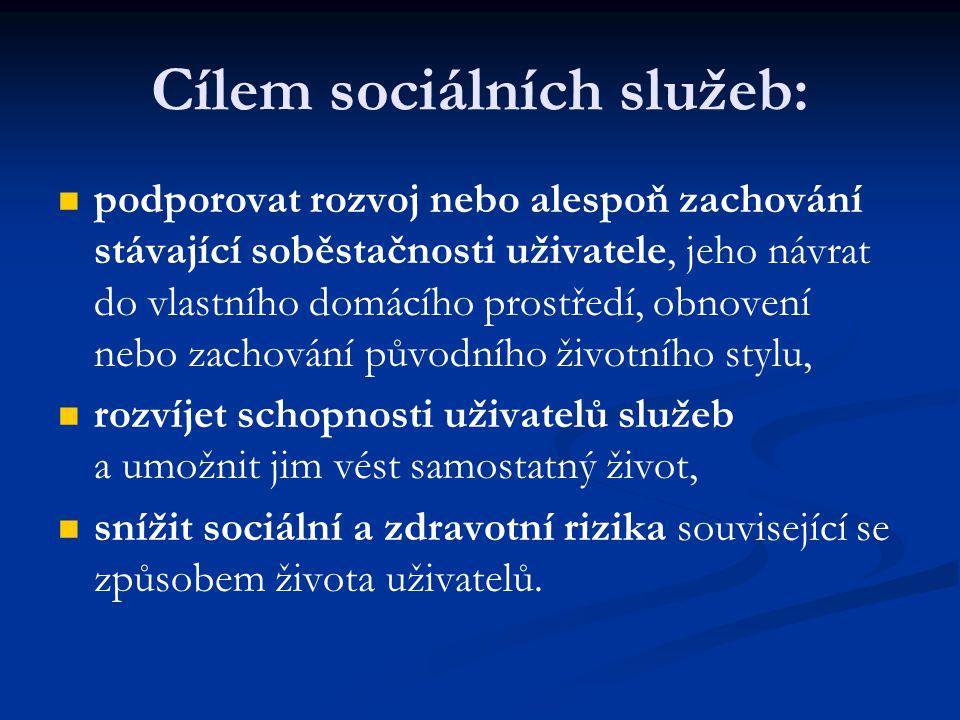 Cílem sociálních služeb: podporovat rozvoj nebo alespoň zachování stávající soběstačnosti uživatele, jeho návrat do vlastního domácího prostředí, obno