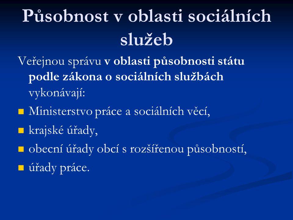 Působnost v oblasti sociálních služeb Veřejnou správu v oblasti působnosti státu podle zákona o sociálních službách vykonávají: Ministerstvo práce a s
