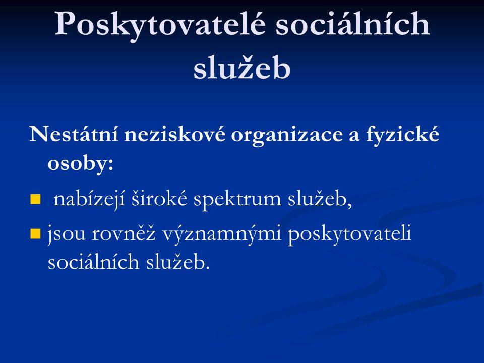 Poskytovatelé sociálních služeb Nestátní neziskové organizace a fyzické osoby: nabízejí široké spektrum služeb, jsou rovněž významnými poskytovateli s