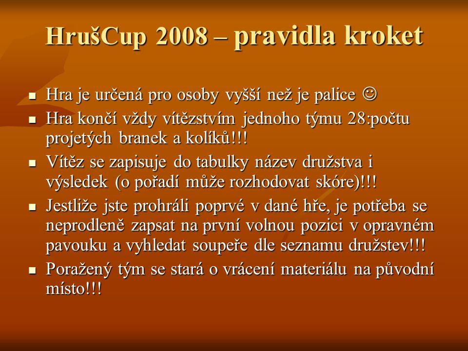 HrušCup 2008 – pravidla kroket Hra je určená pro osoby vyšší než je palice Hra je určená pro osoby vyšší než je palice Hra končí vždy vítězstvím jednoho týmu 28:počtu projetých branek a kolíků!!.