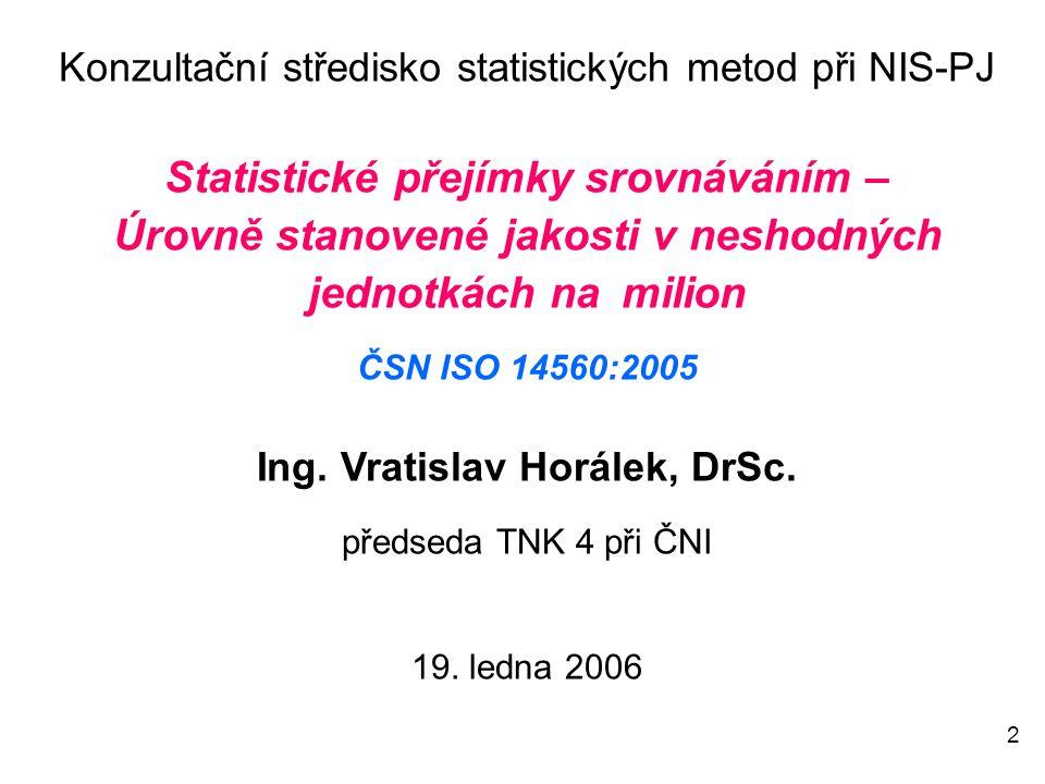 2 Konzultační středisko statistických metod při NIS-PJ Statistické přejímky srovnáváním – Úrovně stanovené jakosti v neshodných jednotkách na milion ČSN ISO 14560:2005 Ing.