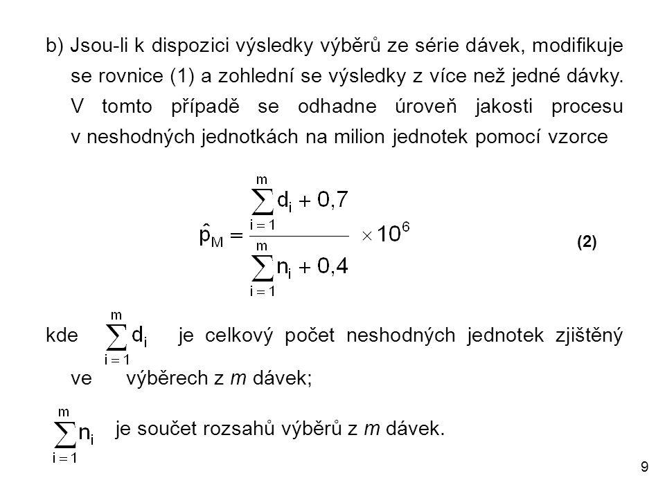 10 Případ: Interval (L P, U P ) v tabulce 1 pokryje hodnotu p M Problém: Pro uvedené vstupní parametry se má z tabulky 1 v ČSN ISO 14560:2005 stanovit přejímací plán (n, Ac) a jeho vlastnosti pro vstupní hodnoty :  odhadnutá (nebo předpokládaná) úroveň jakosti procesu p M = 41 neshodných jednotek na milion jednotek a  zvolená hodnota úrovně mezní jakosti v neshodných jednotkách na milion jednotek LQL = 500.