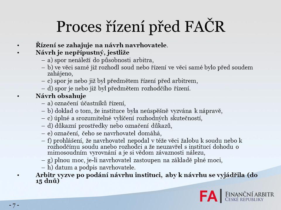 Proces řízení před FAČR Řízení se zahajuje na návrh navrhovatele.