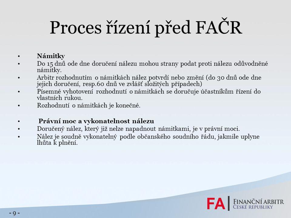 Proces řízení před FAČR Námitky Do 15 dnů ode dne doručení nálezu mohou strany podat proti nálezu odůvodněné námitky.