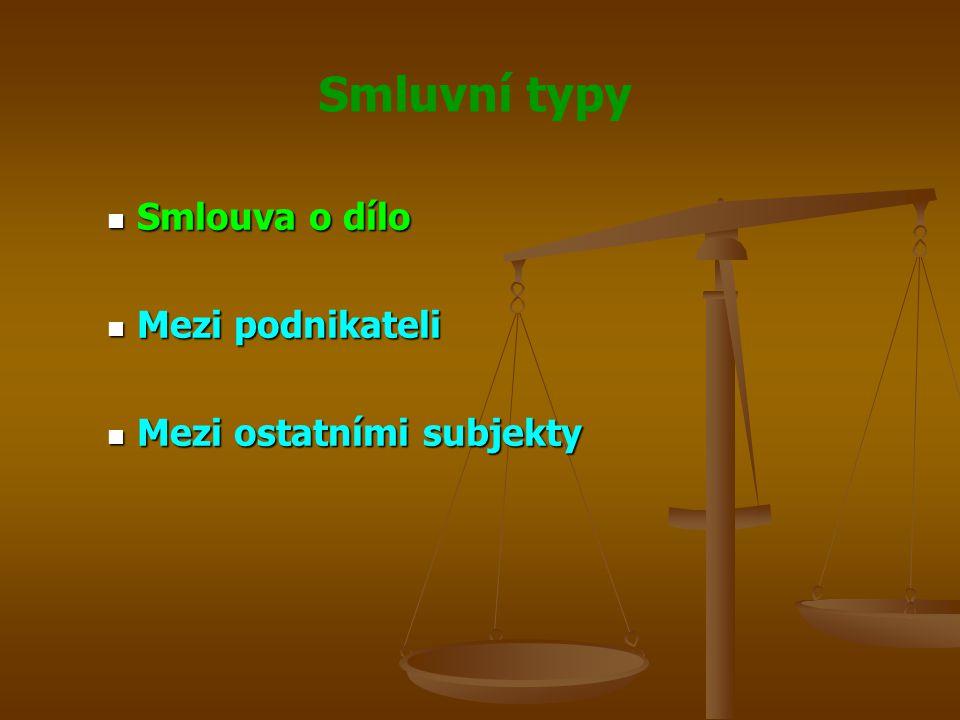 Smlouva o dílo Mezi podnikateli Mezi ostatními subjekty