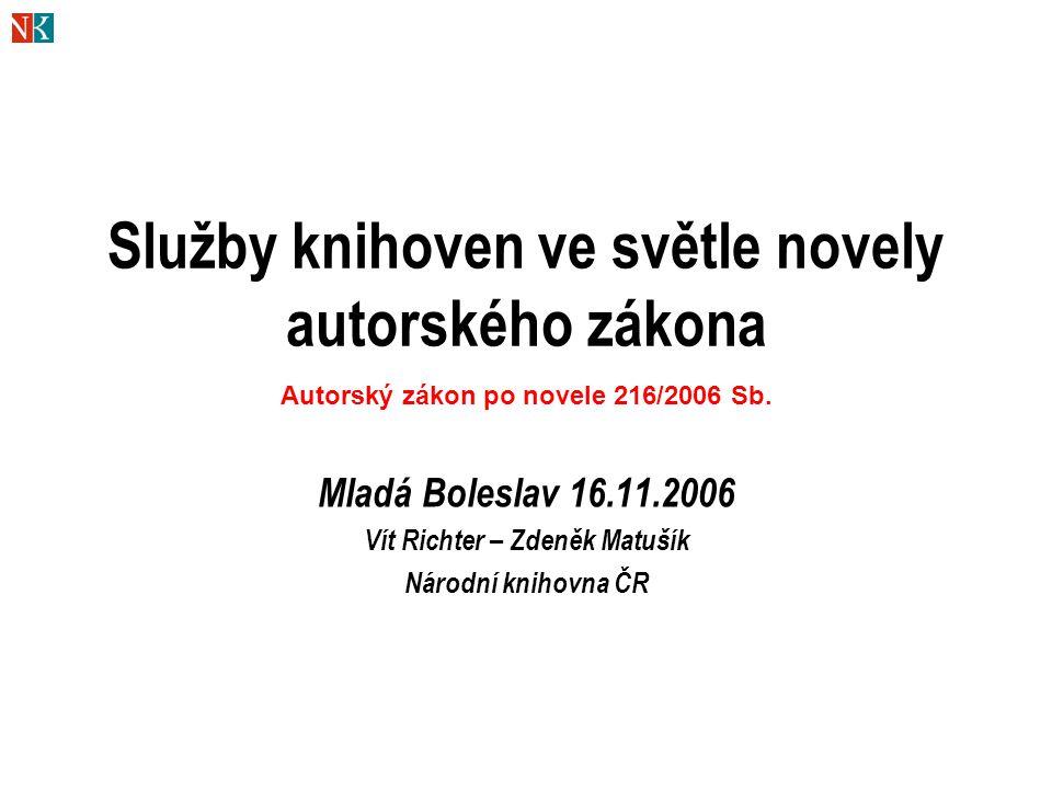 22 Kopie pro uživatele v knihovně Obecně:  rozsah není omezen (ale - fair use )  vyloučeno kopírování notového materiálu + i pro osobní potřebu - § 30a§ 30a  u disertací apod.