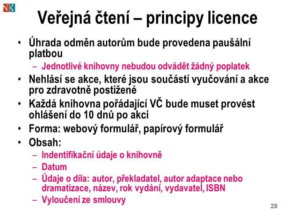 29 Veřejná čtení – principy licence Úhrada odměn autorům bude provedena paušální platbou – Jednotlivé knihovny nebudou odvádět žádný poplatek Nehlásí se akce, které jsou součástí vyučování a akce pro zdravotně postižené Každá knihovna pořádající VČ bude muset provést ohlášení do 10 dnů po akci Forma: webový formulář, papírový formulář Obsah: – Indentifikační údaje o knihovně – Datum – Údaje o díla: autor, překladatel, autor adaptace nebo dramatizace, název, rok vydání, vydavatel, ISBN – Vyloučení ze smlouvy