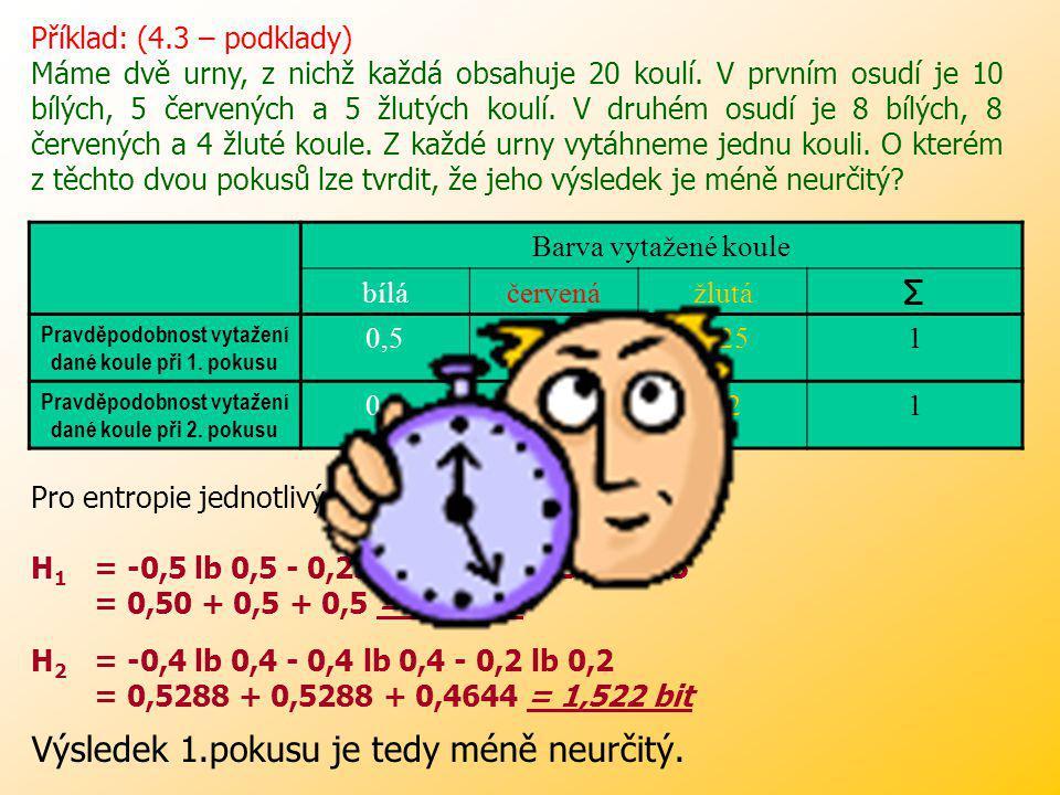 Pravděpodobnost uvedených světelných signálů, uvádí následující tabulka: XČŽZ PkPk 0,40,20,41 H(X) = - 0,4 lb 0,4 – 0,2 lb 0,2 – 0,4 lb 0,4 = Řešení: